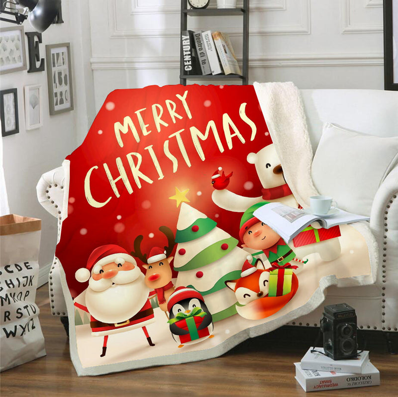 Christmas Blanket Santa Claus Bedding Bedroom Blanket