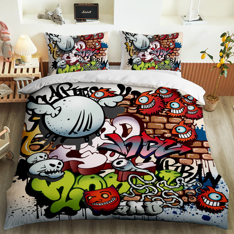 Hip-Hop Graffiti Bed Cover Set Bedding Set Boy's Bedding Sets Child Duvet Cover Set
