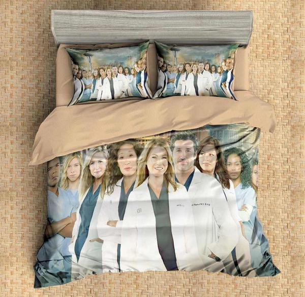 Grey's Anatomy Comforter Set CustomizeCover Set Flat Sheet Bedding Set-Grey's Anatomy Bed set-simphouse