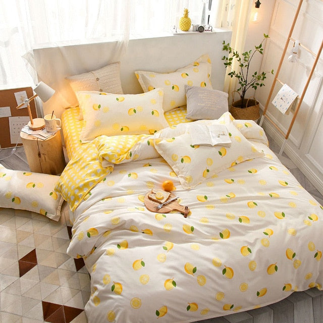 Pineapple Fruit Print Bedding Set Plaid Dot Duvet Cover Adult Child Bed Sheet Comforter-simphouse