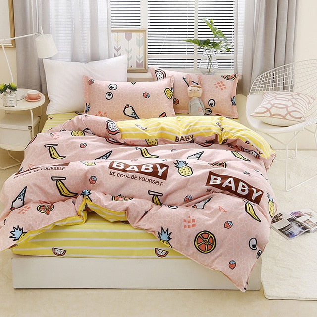 Fruit Pineapple Print Plaid Dot Bed Cover Set Duvet Cover Adult Child-simphouse