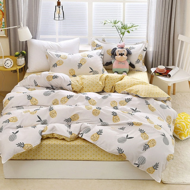 Tropical Fruit Pineapple Print Bedding Set Bed Cover Duvet Cover Adult Child Bed Sheet Pillowcase Comforter-simphouse