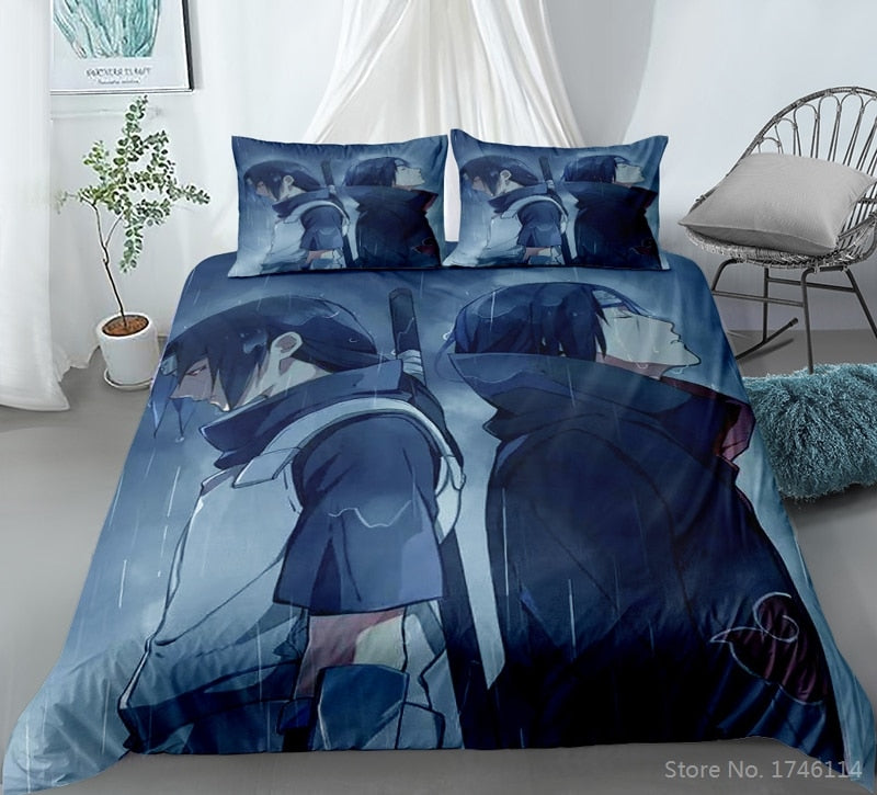 Anime Uchiha Itachi Hatake Kakashi Naruto Bedding Set 3D Cartoon Duvet Cover Set Bed Linens Bedclothes-NARUTO Duvet Cover Set-simphouse