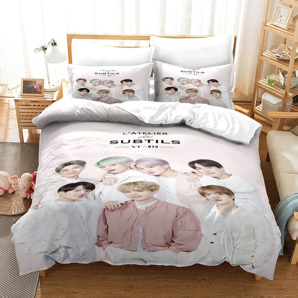 Bantang Boys BTS Pattern Bed sets Duvet Bedding Set for Boys and Girls-simphouse
