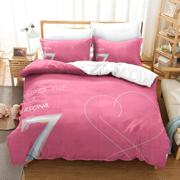 Bantang Boys BTS Series Pattern Pink Duvet Cover Bedding Set for Girls Young Women-simphouse