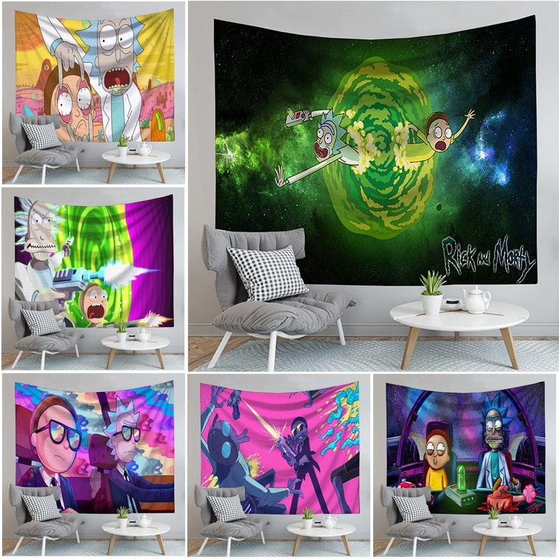 Rick and Morty Tapestry Hanging Cloth Tapestry Background Cloth-simphouse