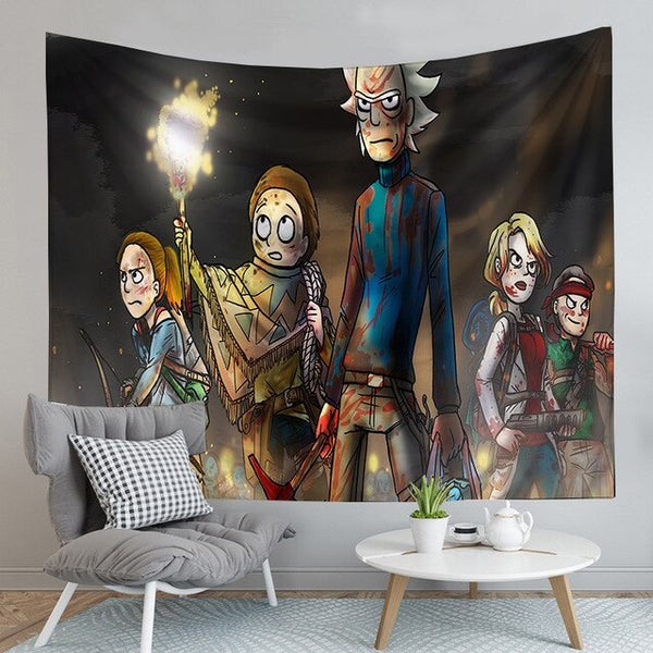 Rick and Morty Tapestry living room Background Cloth-simphouse