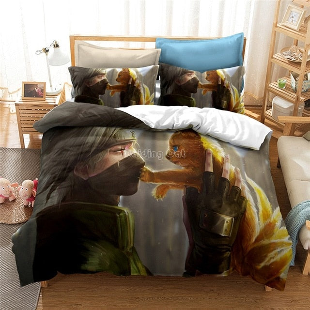 3D NARUTO Anime Printed Luxury comforter Set Duvet Cover AU EU US King Size-simphouse