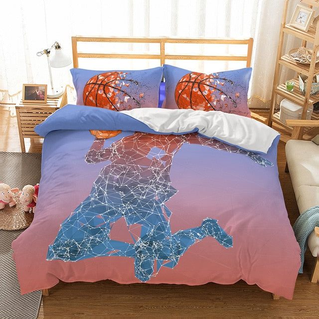 Basketball Bedding Set Ball Duvet Cover Sets Game Comforter Sheet King Queen Twin Size-Ball beding set-simphouse