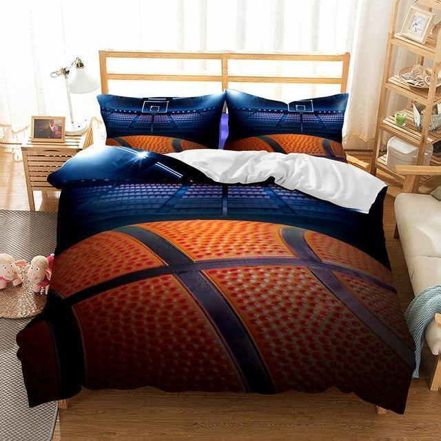 3D Basketball Printed Bedding Set Design Duvet Cover Sets King Queen Twin Size Ball Game Comforter Sheet-Ball beding set-simphouse