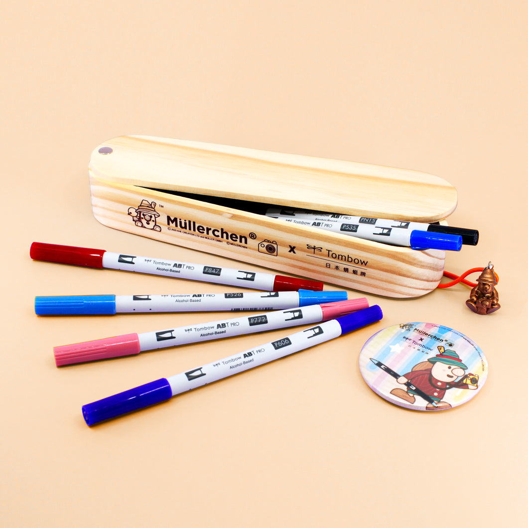 Müllerchen Wooden Pencil Case + ABT Pro Art Markers (12pc Set)