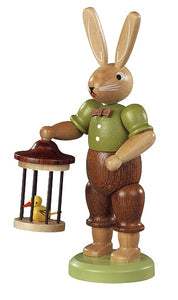 Easter bunny, male with bird cage