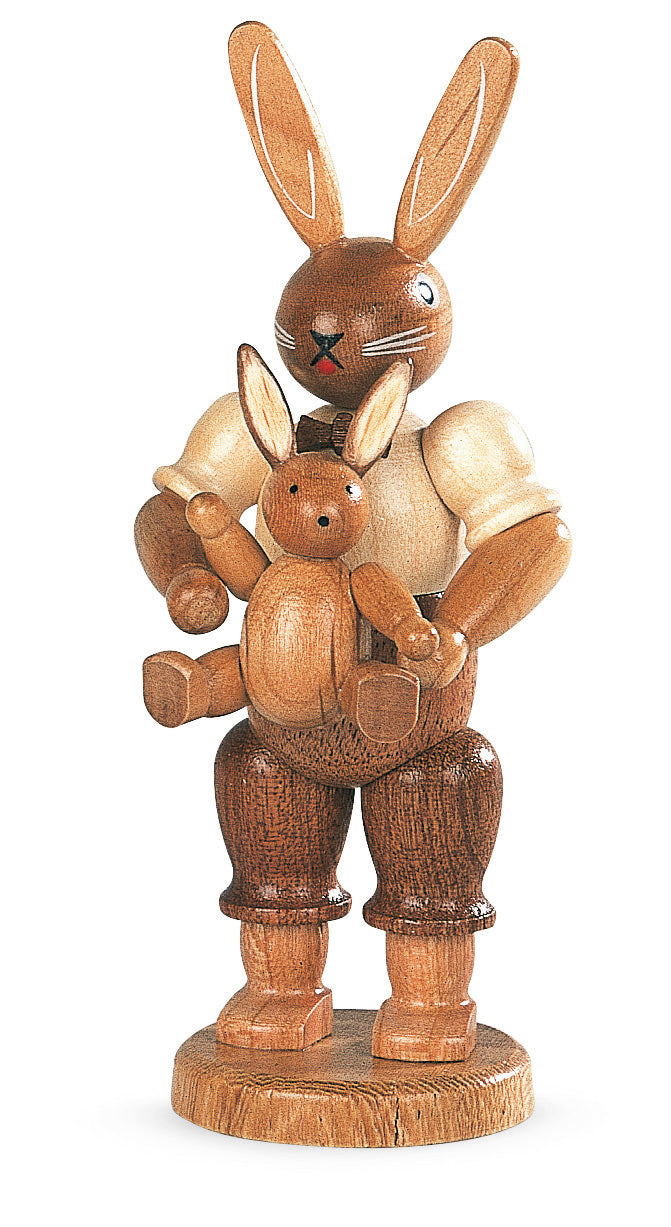 Easter bunny, male with little child