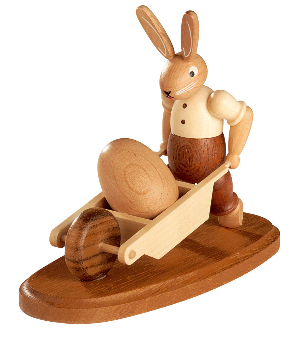 Easter bunny, male with wheelbarrow