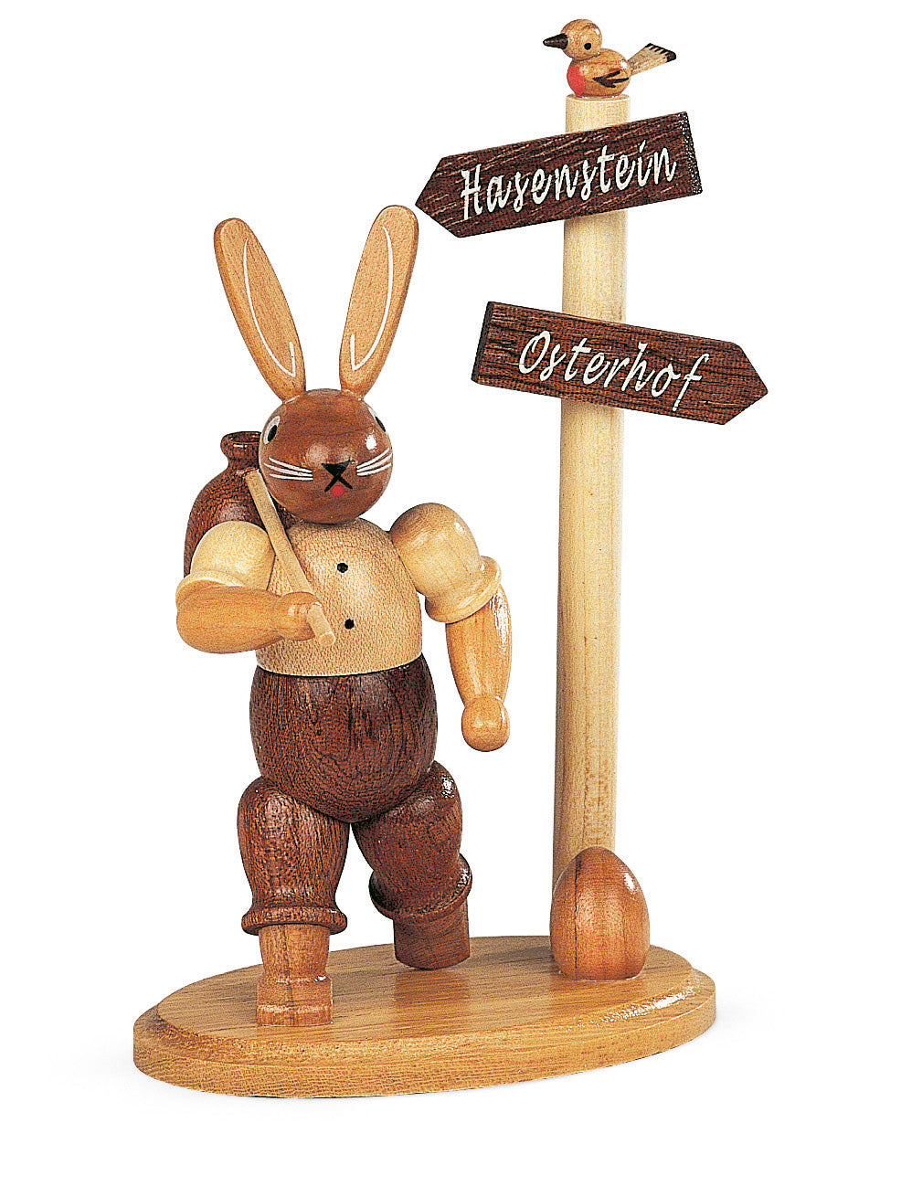 Easter bunny, male hiker at signpost