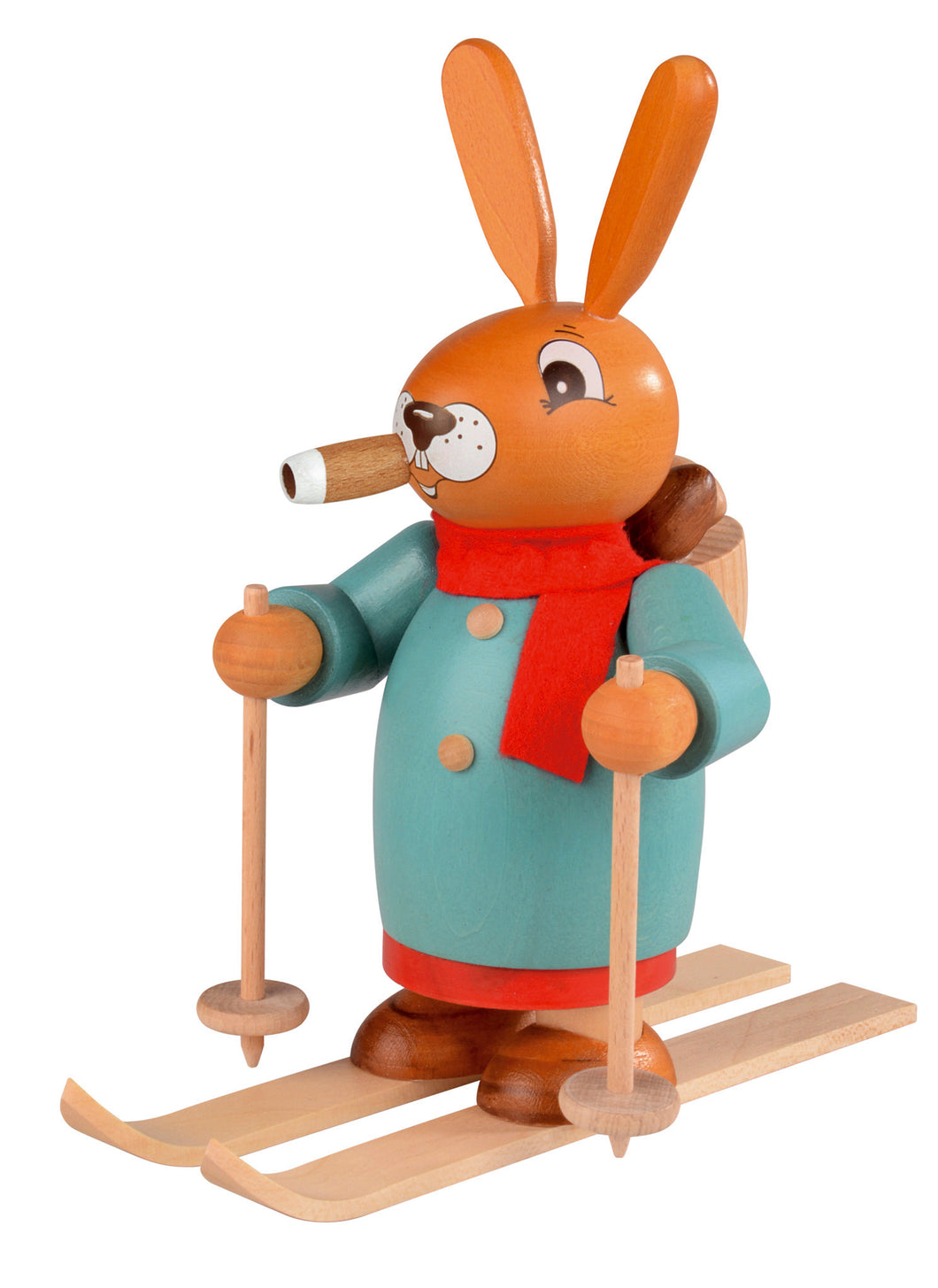 Smoking man Easter bunny on Skis