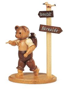 Bear, male hiker at signpost