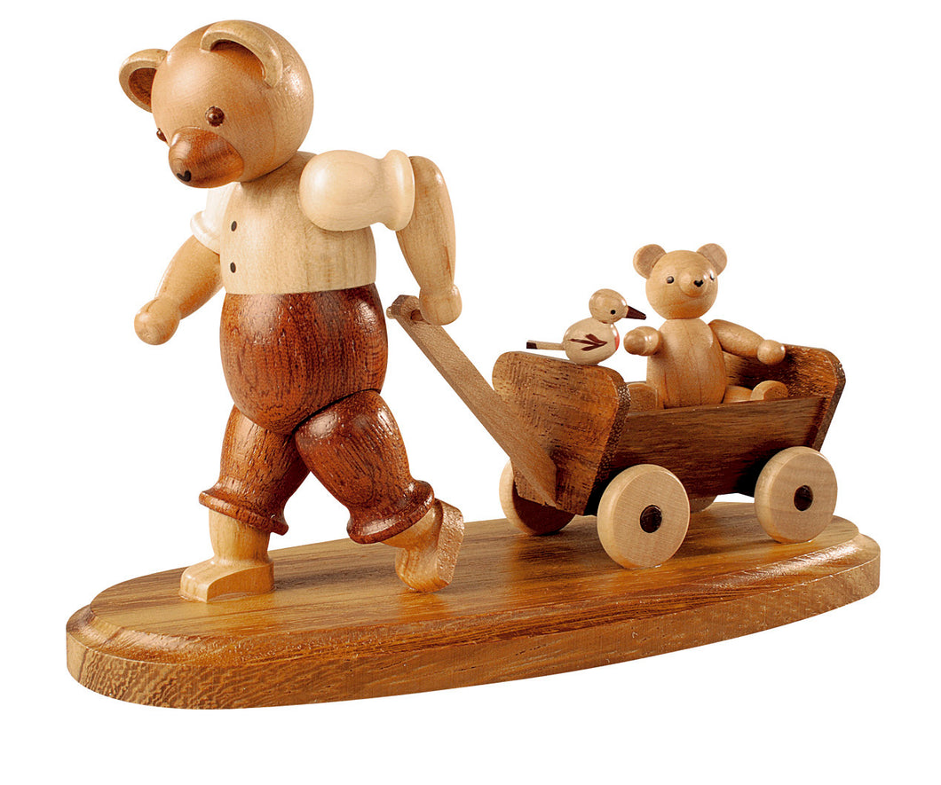 Bear, male with child on wooden handcart