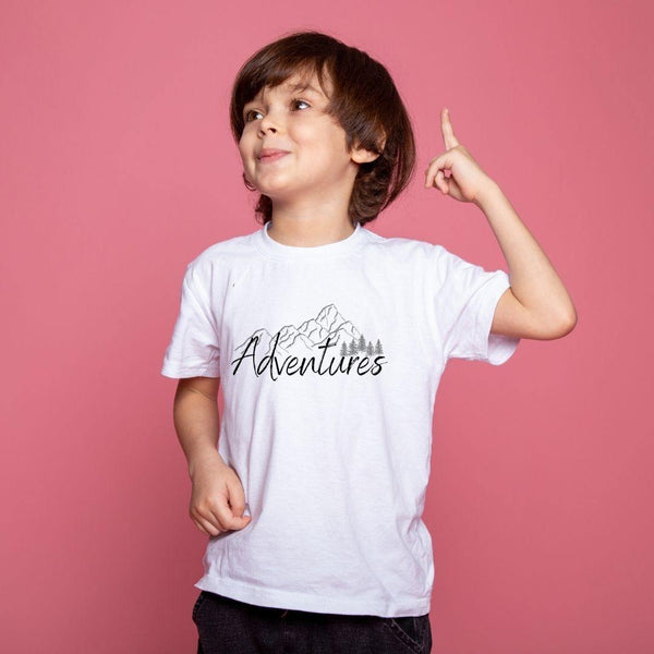 Model wearing Adventures Kids Tee by PALS Apparel