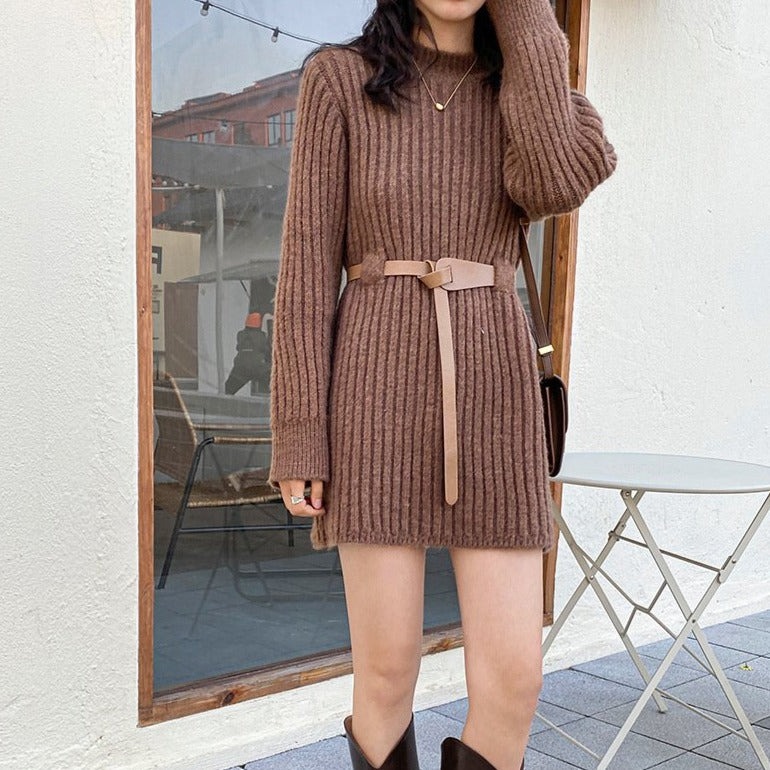 【outlet】ベルト付きニットワンピース