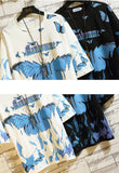 """Manhomme"" Blue Flame Butterflies Elbow Sleeve T-Shirts"