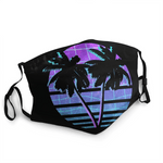 vaporwave mask palm trees