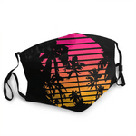 vaporwave mask sunset