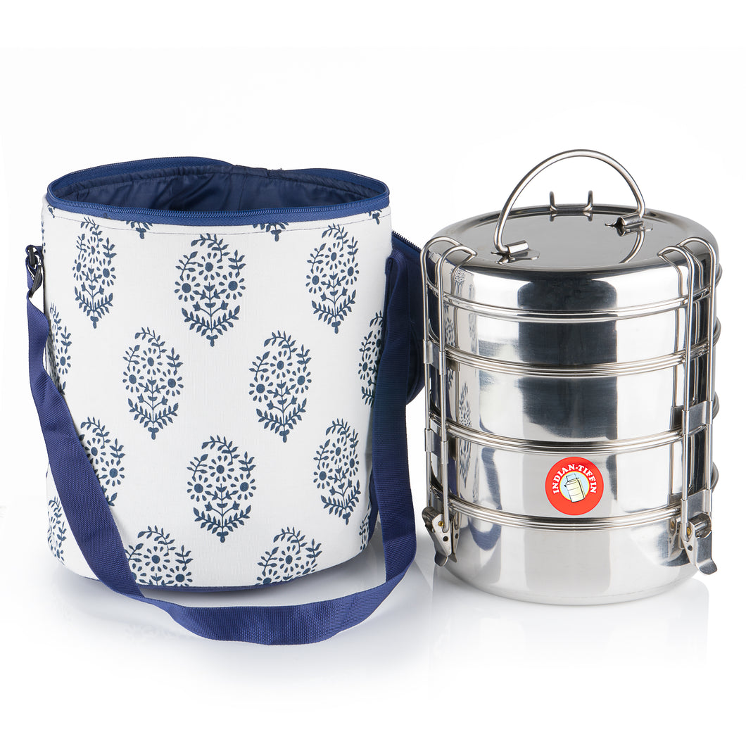 Family Size (Premium) Classical Tiffin With Thermal Blue Leaf Tiffin Bag