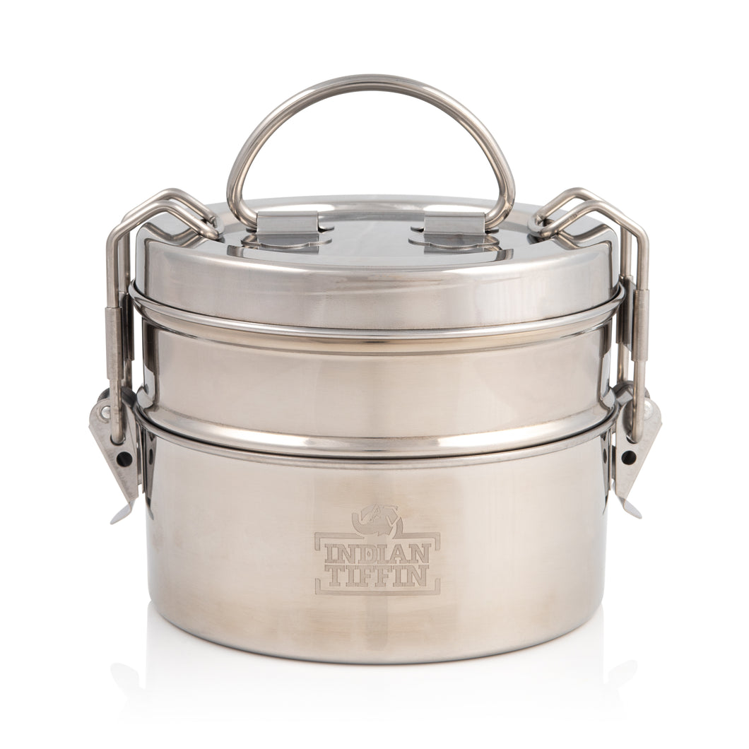 Fiambrera Tiffin grande de acero inoxidable Indian-Tiffin de 2 niveles
