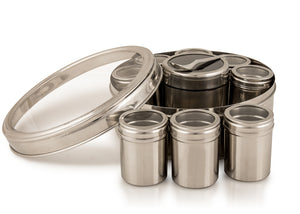 Masala Dabba With Cannisters And Lids With Clear Lids