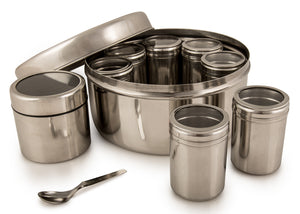 Masala Dabba Spice Box With Individual Cannisters With Steel Lid