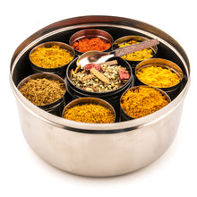 Load image into Gallery viewer, Selection Of 8 Premium Indian Tiffin Spices With Dabba