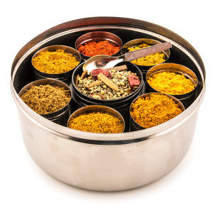 Selection Of 8 Premium Indian Tiffin Spices With Dabba