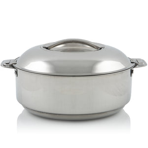 Stainless Steel Double Walled Insulated Food Serving Pot with Steel Lid (Large)