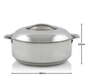 Stainless Steel Double Walled Insulated Food Serving Pot with Steel Lid (Medium)