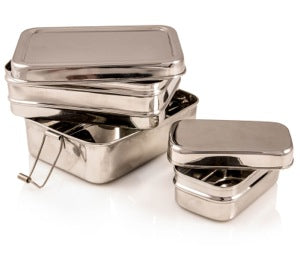 Stainless Steel Rectangular 3 in 1 Lunchbox - Large