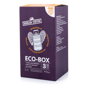 Eco-Box Indian-Tiffin a 3 livelli in acciaio inossidabile con set di posate da 3 pezzi