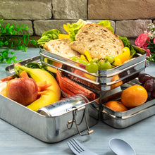 Load image into Gallery viewer, Stainless Steel Rectangular 3 Section Lunchbox - Giant