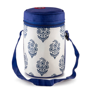 4 Tier Tiffin With Thermal Blue Leaf Tiffin Bag