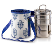 Load image into Gallery viewer, 4 Tier Tiffin With Thermal Blue Leaf Tiffin Bag