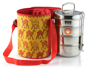 4 Tier Tiffin With Thermal Camel Design Tiffin Bag