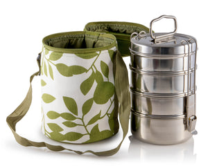 4 Tier Tiffin With Thermal Green Leafy Tiffin Bag