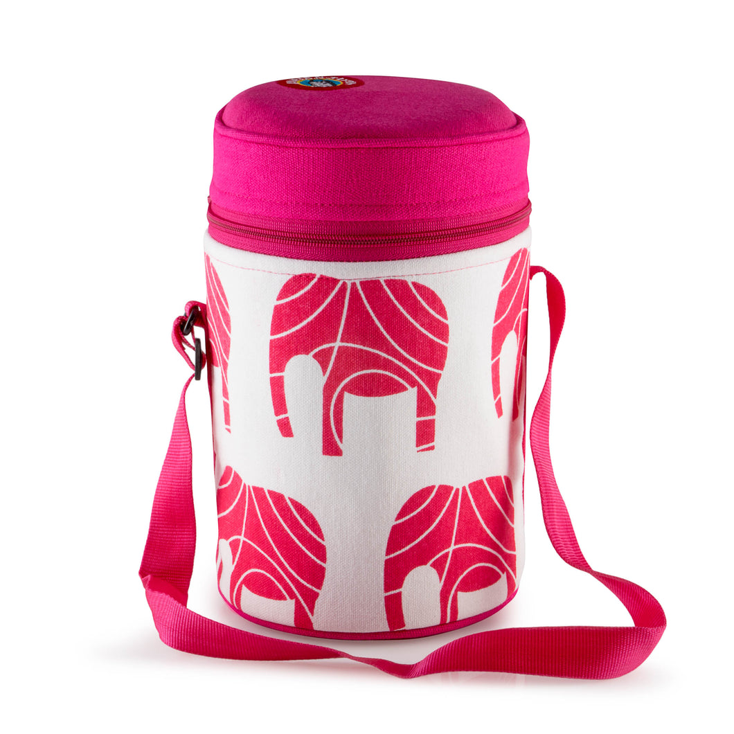 4 Tier Thermally Insulated Pink Elephant Tiffin Carrier
