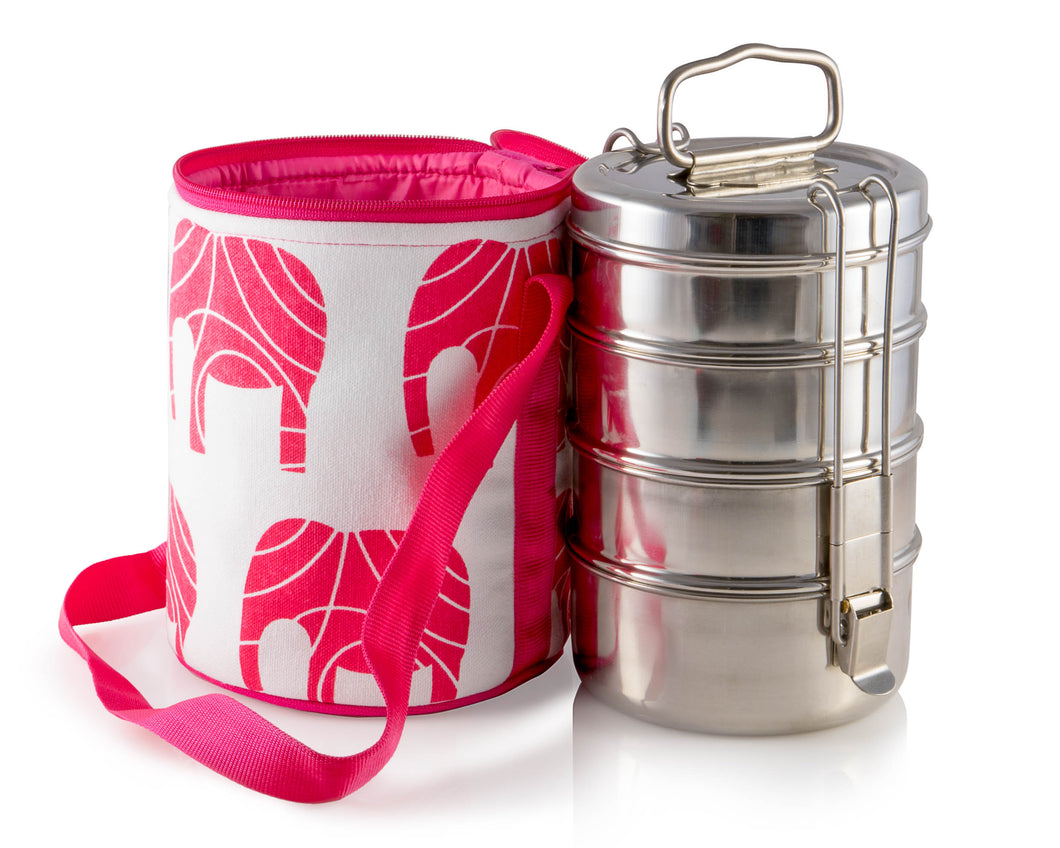 4 Tier Tiffin With Thermal Red Elephant Tiffin Bag