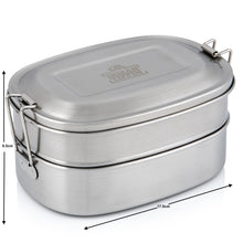 Load image into Gallery viewer, Stainless Steel Indian Tiffin Double Layer Rectangular Lunchbox