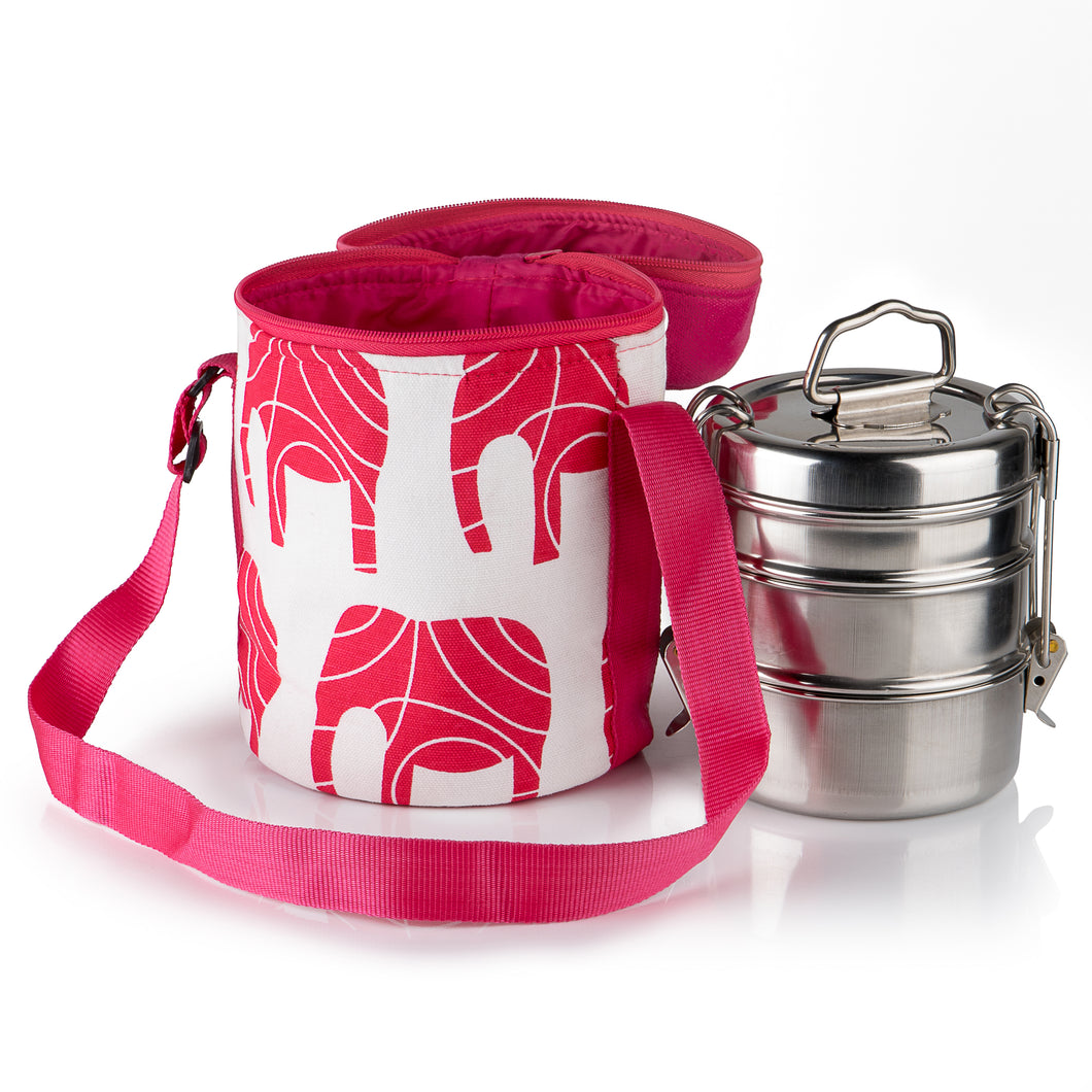 3 Tier Tiffin With Thermal Red Elephant Tiffin Bag
