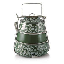 Load image into Gallery viewer, Green 3 Tier Handpainted Pyramid Tiffin