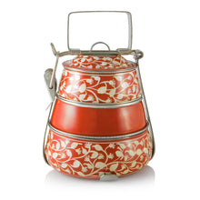 Load image into Gallery viewer, Orange 3 Tier Handpainted Pyramid Tiffin
