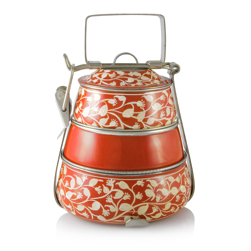 Orange 3 Tier Handpainted Pyramid Tiffin