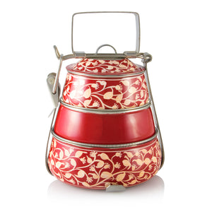 Red 3 Tier Handpainted Pyramid Tiffin